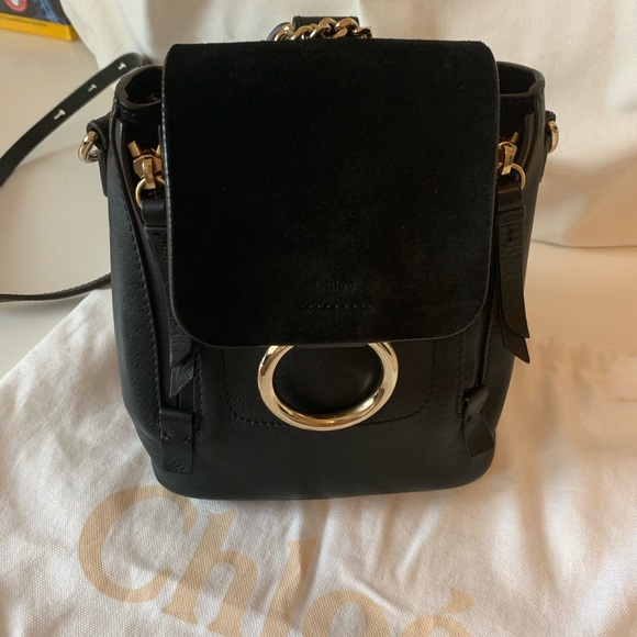 Chloe Handbags - Chloe Faye Mini Leather Black Backpack